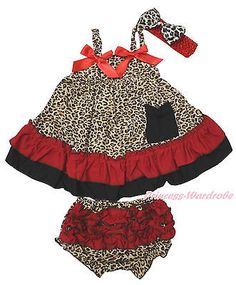 Hot Red Leopard Halter Swing Top Infant Baby Girl Bloomer Accessory Set NB-2Year