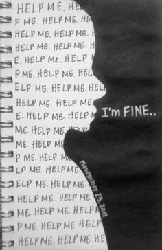 This reminds me of the Fake Love MV by BTS. In the shot where V/ TAEHYUNG is standing in a hallway with the words I'm Fine written behind him. Sad Quotes, Life Quotes, Inspirational Quotes, Qoutes, Powerful Images, Depression Quotes, Depression Art, Depression Journal, Wreck This Journal