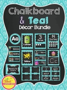 Teal and Chalkboard Classroom Decor BundleDecorate your classroom this year with this stylish and comprehensive teal and chalkboard decor package by Tweet Resources.
