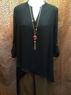 Joseph Ribkoff - Black high-low chiffon tunic with diagonal hemline - $164