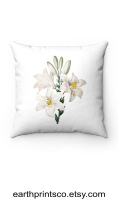 """Floral throw pillow cover / botanical throw pillowcase / Cottagecore floral pillow case / Madonna lily flower cover for accent pillows ✻ Pillow cover / Pillowcase ✻ floral botanical design ✻ Madonna lily print ✻ Available 4 sizes: 14""""x14"""", 16""""x16"""", 18""""x18"""", 20""""x20"""" ✻ Pillow is not included ✻ 100% Polyester ✻ Double-sided print ✻ Concealed zipper Square Pillow Covers, Throw Pillow Covers, Pillow Cases, Floral Throw Pillows, Accent Pillows, Madonna, Lily, Zipper, Flower"""