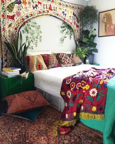 Dreamy bohemian bedrooms...  Our vintage torans have SOLD OUT!  All Suzani's are in store & ON SALE!