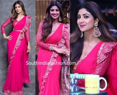 Shilpa Shetty in a pink saree – South India Fashion Tokyo Fashion, India Fashion, Shilpa Shetty Saree, Sonakshi Sinha, Pink Outfits, Dress Outfits, Choli Dress, Simple Sarees, Latest Designer Sarees