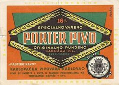 Label designed by Ozeha unknown year for famous Karlovačko porter beer, Karlovac Brewery, now owned by Heineken.