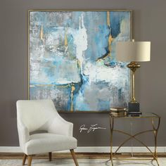 Uttermost Meditation Modern Art Need to check dimensions on this Evoking a mid-century modern style, this hand painted abstract on canvas makes a bold statement. Bright blue shades are complimented by wide, white and gray Awesome Meditation Modern Art I l Modern Art Artists, Modern Abstract Art, Painting Abstract, Modern Paintings, Abstract Art Blue, Abstract Painting Ideas On Canvas, Blue Painting, Hand Painted Canvas, Canvas Canvas