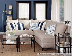 Absolutely love this layout they did in Pottery Barn. This blue is called Hale Navy and I adore it! Going to be painting my bathroom this color! LOVE!