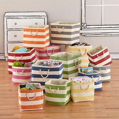 Kids Storage: Striped Cube Storage Bins in Bins & Baskets | The Land of Nod