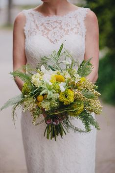 Shade Garden Flowers And Decor Ideas Rustic Fern, Wildflower And Craspedia Bouquet Fern Wedding, Wedding Reception Flowers, Diy Wedding Bouquet, Botanical Wedding, Floral Wedding, Wedding Dresses, Yellow Wedding, Boho Wedding, Wedding Cakes