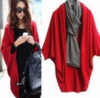 Wish | New Hot Selling Women's Fashion Cashmere Blends Poncho Knitted Cardigan Winter Outerwear Sweater Shawl Cape Red/Black/Gray