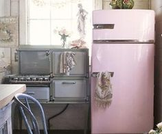 Pink refrigerator...so cute!