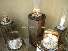 holz deko säulen glas