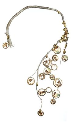 "Necklace | Carrie Bilbo.  ""Wings"".  Silver, Brass, Plexy, Cicada Wings"