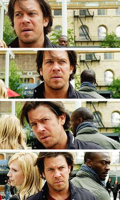 [gifset] Eliot moving to stand back-to-back with Parker & Hardison #Leverage
