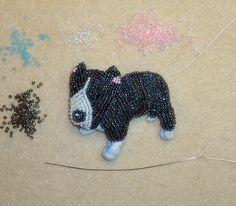bead embroidery seed beads beadwork gray pit bull dog pin beading