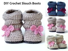 myquotesme: DIY Crochet Slouch Boots Here are some really cute DIY Crochet Slouch Boots which you can size to fit any baby or kid. They are not only stylish they are also really comfy and warm. The design features a great slouchy look to it with some really neat ribbed cuffs. Also great for the gifts or baby showers. Enjoy! Follow Us on Tumblr. Baby girl winter booties. Shoes. Autumn. Fall More