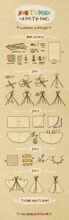 Recently I made a Tipi tent for my cat. although this is a miniature version Tipi I still enjoyed the whole building process enormously and today I decided to drew an illustration tutorial for whoever would also like to give a try! Diy Tipi, Diy Cat Tent, Diy Teepee Tent, Diy Doll Teepee, No Sew Teepee, Teepee Kids, Illustration Tutorial, House Illustration, Illustrations