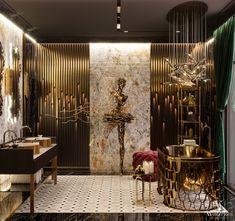 Luxury Master Bathrooms, Dream Bathrooms, Wood Interior Design, Bathroom Interior Design, High Walls, Home Additions, Bath Design, Interior Architecture, Luxury Homes