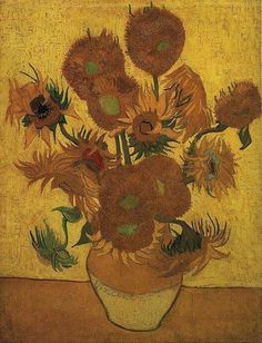 Vaso com 15 girassóis (janeiro de 1889). É outra pintura com 15 girassóis. Museu Van Gogh, em Amsterdam