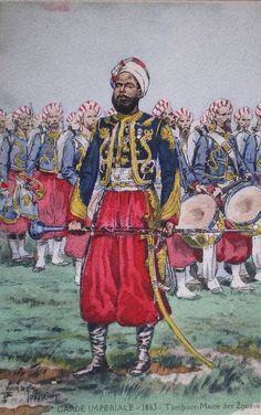 French; Imperial Guard, Zouaves, Drum-Major 1863 by Maurice Toussaint