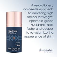 SkinBetter Science Intensive Treatment LINES -- A revolutionary no-needle approach to delivering high molecular weight, injectable-grade hyaluronic acid faster and deeper to re-volumize the appearance of skin. Acid Fast, Facial Rejuvenation, Skin Care Treatments, Moisturiser, Hyaluronic Acid, Skincare, Medical, Science, Instagram Posts
