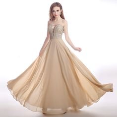Strapless beading chiffon long a line dress, suit for evening/prom dress.