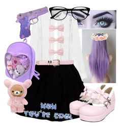 A fashion look from November 2017 featuring white long sleeve shirt, Opening Ceremony and purple backpack. Browse and shop related looks. Kawaii Pastel Clothes, Pastel Goth Outfits, Pastel Goth Fashion, Pastel Outfit, Emo Outfits, Kawaii Fashion, Goth Aesthetic, Aesthetic Clothes, Japanese Trends