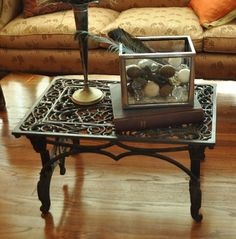 Sewing machine base and iron door mat coffee table: Just Vintage Home