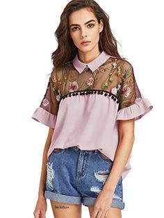 f0e4edc60a22 SheIn Women s Cute Embroidered Sheer Neck Ruffle Cuff Collared Blouse at Amazon  Women s Clothing store  Summer BlousesRomweRuffle ...