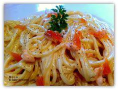 .: ESPAGUETIS CON SALMÓN AHUMADO Y NATA Pasta Ligera, Tumblr Food, Salmon Pasta, Risotto, Spaghetti, Favorite Recipes, Cooking, Ethnic Recipes, Blog