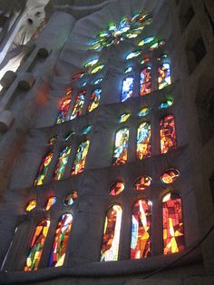 Stained glass in Sagrada Familia - Barcelona, Spain