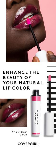 Get the look with COVERGIRL Vitalist Tinted Lip Oil in Grape Juice. Formulated from a blend of nourishing oils, this lip oil instantly melts onto your lips and softens them with every wear.