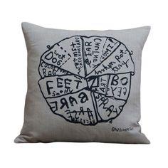 A beautiful linen cushion featuring a screen printed brushwork design by artist Martin Poppelwell.