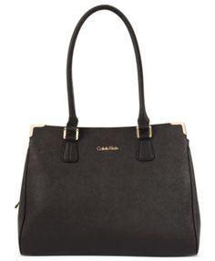 Calvin Klein On My Corner Saffiano Leather Satchel - Handbags & Accessories - Macy's