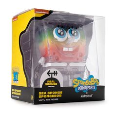 Limited Edition SpongeBob SquarePants Sea Sponge Art Figure by Kidrobot – Rainbow Glitter Edition Bright Blue Eyes, Sea Sponge, Toy Packaging, Spongebob Squarepants, 20th Anniversary, Vinyl Art, Rainbow Colors, Family Guy, Glitter