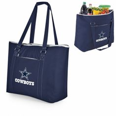 "Dallas Cowboys Beach Bag / Tote - Tahoe by Picnic Time. SHORT DESCRIPTION:The Tahoe wasn't designed solely as a beach bag, but if a beach bag is what you're looking for, this one won't disappoint! Measuring 23"" (L) x 8.25"" (W) x 17"" (H), this extra large tote has almost 1 cubic feet of interior storage space, enough to hold 48 12-oz. cans! Fully-insulated to keep your food and drinks cold, the Tahoe also has a heat-sealed, water-resistant interior liner which is perfect for transporting wet…"