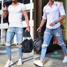 Fashion Streetwear Mens Jeans Stretch Destroyed Ripped Design Fashion Pencil Pants Ankle Zipper Skinny Jeans For Men is part of Skinny jeans men Brand Name Acacia PersonClosure Type Zipper FlyWash D - Skinny Biker Jeans, Jeans Slim, Denim Jeans, Jeans Pants, Ankle Pants, Man Jeans, Mens White Jeans, Mens Jeans Outfit, Blazer Jeans