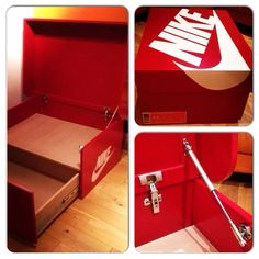 Nike shoe box holder with quality soft closers, hydraulic arms and hinges.