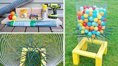 jeu boules plastiques colorées jardin