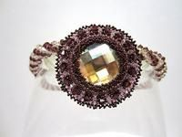 Necklace Bead Work Pendant Crystal Burgundy Champagne OOAK