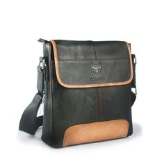 Sale 21% (43.2$) - Men Genuine Leather Briefcase Casual Messenger Bag Black Crossbody Bag Shoulder Bag