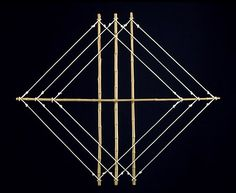 Three of Diamonds, 1971 yellow bamboo and nylon rope 44.5 x 52.5 x 1.5 inches 113 x 133 x 4 cm