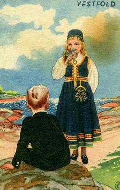 Bunadskort Vestfold Erling Nielsen Utg Norske bunadskort