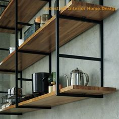 step by step guide on how to make open shelving from someone who creates shelf brackets, this easy DIY wood shelf tutorial provides useful tips and sources Industrial Kitchen Design, Vintage Industrial Furniture, Industrial House, Metal Furniture, Furniture Design, Industrial Kitchens, Industrial Lamps, Shelving Design, Shelf Design