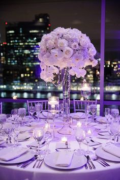 super Breathtaking New Jersey Wedding – MODweddinglove the two taller vases with votives/floating candles with the tall centerpieces - Dekoration Site / 2019 Mod Wedding, Purple Wedding, Wedding Flowers, Dream Wedding, Wedding Day, Wedding Ceremony, Wedding Bouquets, Purple Bouquets, Bridesmaid Bouquets