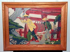 Framed Paint by Number Painting Mid Century Original PBN Red Green Asian Wall Art Hanging