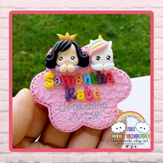 GIRL & UNICORN IN FLOWER SHAPE BASE MAGNET SOUVENIRS FOR CHRISTENING & BIRTHDAY 100% HANDMADE MATERIAL: POLYMER CLAY