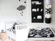 quarto de bebê em preto e branco