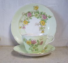 VINTAGE Aynsley China Trio Cup & Saucer Hand Painted 1930s Art Deco Flowers Green Pink English