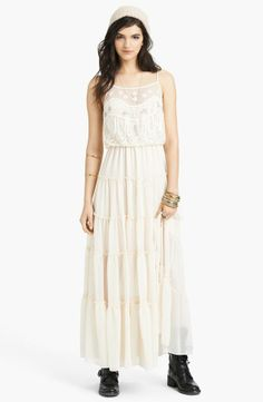 Free People 'Penny' Lace & Georgette Maxi Dress