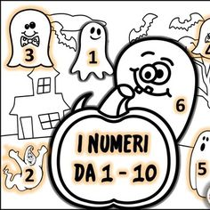 Halloween themed numbers 1-10  in Italian.  Great for FLES!  DIRECTIONS: On each…